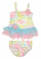 Kate Mack Infant / Toddler Girls Rainbow Connection Pastels Tutu Two Piece Swimsuit