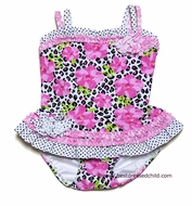Kate Mack Infant / Toddler Girls Rosa del Rio Leopard / Roses Two Piece Swimsuit