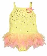 Kate Mack Infant / Toddler Girls Yellow Tahitian Sunset Tulle Skirted One Piece Bathing Suit