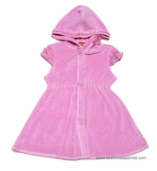 Katie Mack Girls Butterfly Ballet / All Aflutter Coverups - Terry Cloth - with Hood - PINK