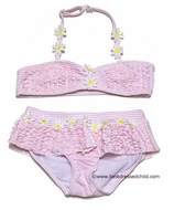 Katie Mack Girls Daisy May PINK Striped Skirted Two Piece Swimsuit