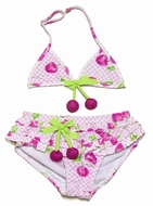 Katie Mack Girls Pink Cherry Picked Skirted Two Piece Swimsuit