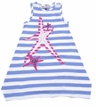 KidCuteTure Girls Sky Blue Striped Pink Star Fish Dress