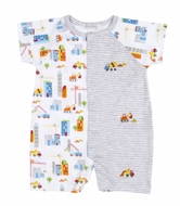 Kissy Kissy Baby Boys Gray Stripes Construction Trucks Print Romper Playsuit