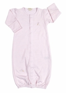 Kissy Kissy Baby Girls Cottontails Bunny Striped Convertible Gown - Pink