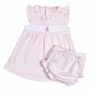Kissy Kissy Baby Girls Pink Smocked Cottontails Bunny Striped Dress with Diaper Cover