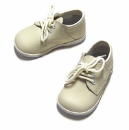 L'Amour Angel Baby Shoes - Ecru Off White Lace Up Boys Dress Shoes