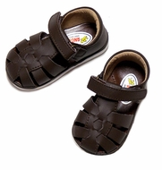 L'Amour Angel Baby / Toddler Girls / Boys Leather Fisherman Sandals - Rubber Sole - BROWN