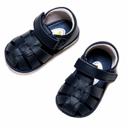 L'Amour Angel Baby / Toddler Girls / Boys Leather Fisherman Sandals - Rubber Sole - NAVY BLUE