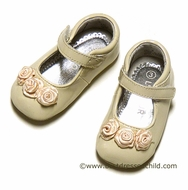 L'Amour Angel Baby / Toddler Girls Dressy Cream Patent Mary Janes Shoes with Rosettes
