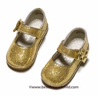 L'Amour Angel Baby / Toddler Girls Glitter Mary Jane Shoes with Bow - Gold