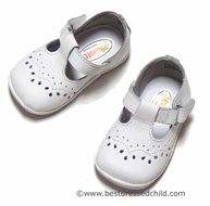 L'Amour Angel Baby / Toddler Girls Leather T-Strap Shoes - WHITE