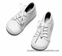 L'Amour Angel Boys Dressy White Leather Shoes with Christening Cross & Dove - Boy