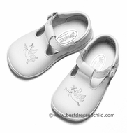 L'Amour Angel Girls White Leather T-Strap Shoes with Christening Cross / Dove - Girl