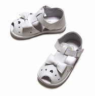 L'Amour Angel Infant / Toddler Girls White Summer Sandals with Bow
