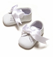 L'Amour  Angel White Leather Baby Dress Shoes with Satin Ribbon Ties