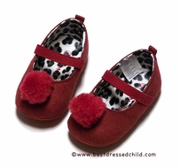 L'Amour Baby / Toddler Girls Faux Suede Pom Pom Mary Janes Shoes - Deep Red