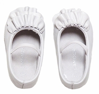 L'Amour Baby / Toddler Girls White Leather Ruffle Mary Janes Shoes