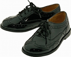 L'Amour Boys Dressy Patent Leather Black Lace Up Oxford Shoes