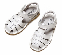 L'Amour Boys / Girls Classic All Leather Fisherman Sandals - WHITE