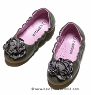 L'Amour Girls Ballet Flats Shoes with Satin Flower - Grey