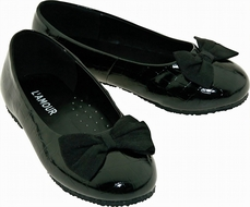 L'Amour Girls Dressy Black Flat Shoes with Grosgrain Bows