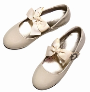 L'Amour Girls Dressy Mary Janes Shoes with Bow on Velcro Strap - Patent Cream