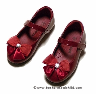 L'Amour Girls Dressy Patent Leather Mary Janes Shoes with Bow / Bling - Red