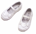 L'Amour Girls Dressy White Satin Ballerina Ballet Flats Shoes with Rosettes