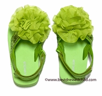 L'Amour Girls Flower / Sequin Beach / Pool Sandals with Strap - Lime Green