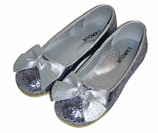 L'Amour Girls Glitter Ballerina Flats Shoes with Bow - Silver