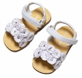 L'Amour Girls Glitter Flower Sandals with Velcro Strap - WHITE