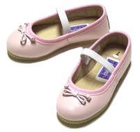 L'Amour Girls Leather Ballerina Ballet Slippers Shoes -  Pearl Pink