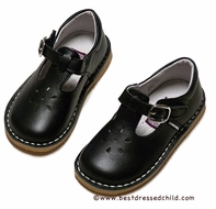L'Amour Girls Leather T-Strap Mary Janes Shoes - Black