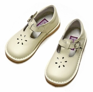 L'Amour Girls Leather T-Strap Mary Janes Shoes - Ecru