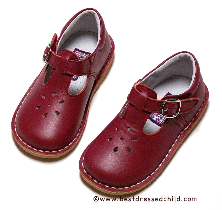 Amour Red Leather T-Strap Mary Jane Shoes for Girls