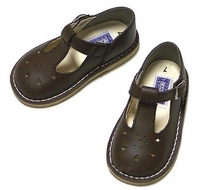 L'Amour Girls Shoes - Leather T-Straps - Chocolate Brown