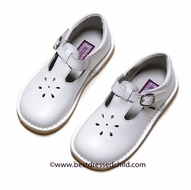 L'Amour Girls T-Strap Shoes - Kid Leather White