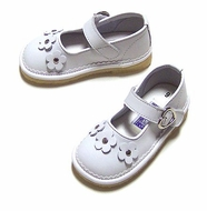 L'Amour Girls White Leather Mary Janes with Flowers - Easter Dress Shoes