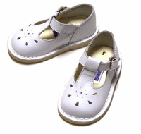 L'Amour Shoes for Girls - Leather T-Straps Mary Jane with Tear Drop Design - White