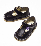 Lamour Leather T Strap Shoes for Girls - Navy Blue