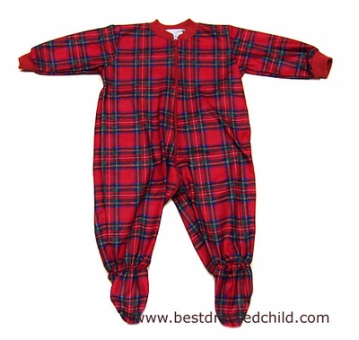 Lanz of Salzburg Infant Baby Boys Christmas Red Plaid Footed Pajamas