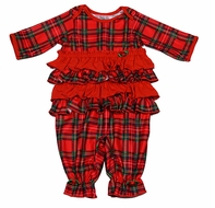 Laura Dare / New ICM Baby Girls Red Christmas Holiday Plaid Ruffle Jumpsuit