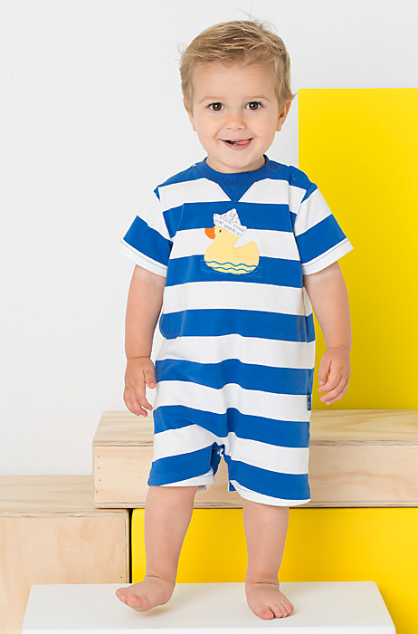 Le Top Baby Boys Blue White Striped Romper Duck With