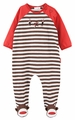 Le Top Baby Boys Brown Striped Spunky Monkey Footed Coverall - Sock Monkey Feet