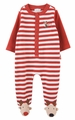 Le Top Baby Boys Red Striped Footie Coverall - Christmas Reindeer Feet