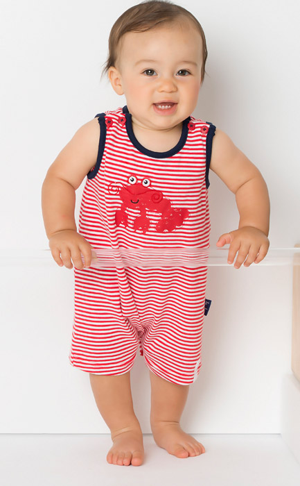 Le Top Baby Boys Striped Sleeveless Red Lobster Romper