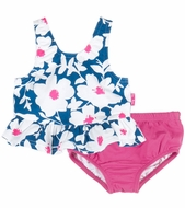 Le Top Baby Girls Blue Blooms Floral Swimsuit with Hot Pink Bottoms