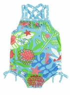 Le Top Baby Girls Blue / Green Caribbean Island Dreams One Piece Swimsuit