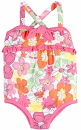 Le Top Baby Girls Pink Crazy Daisy One Piece Bathing Suit with Bow